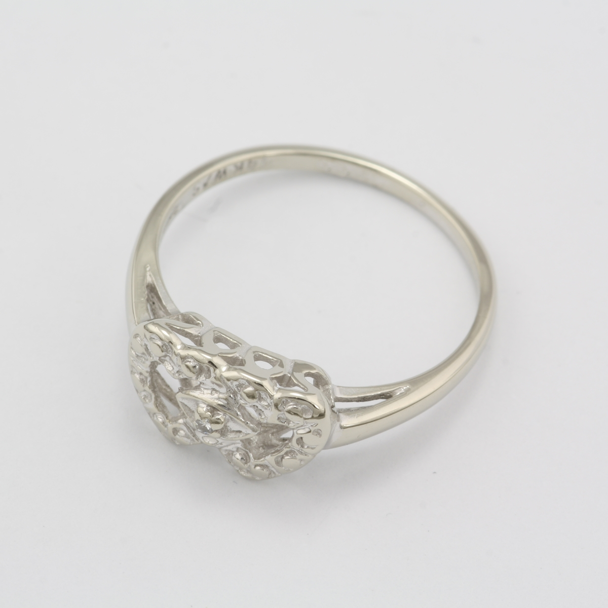 Preowned 14 Karat White Gold Double Heart Ring With Diamond Accent