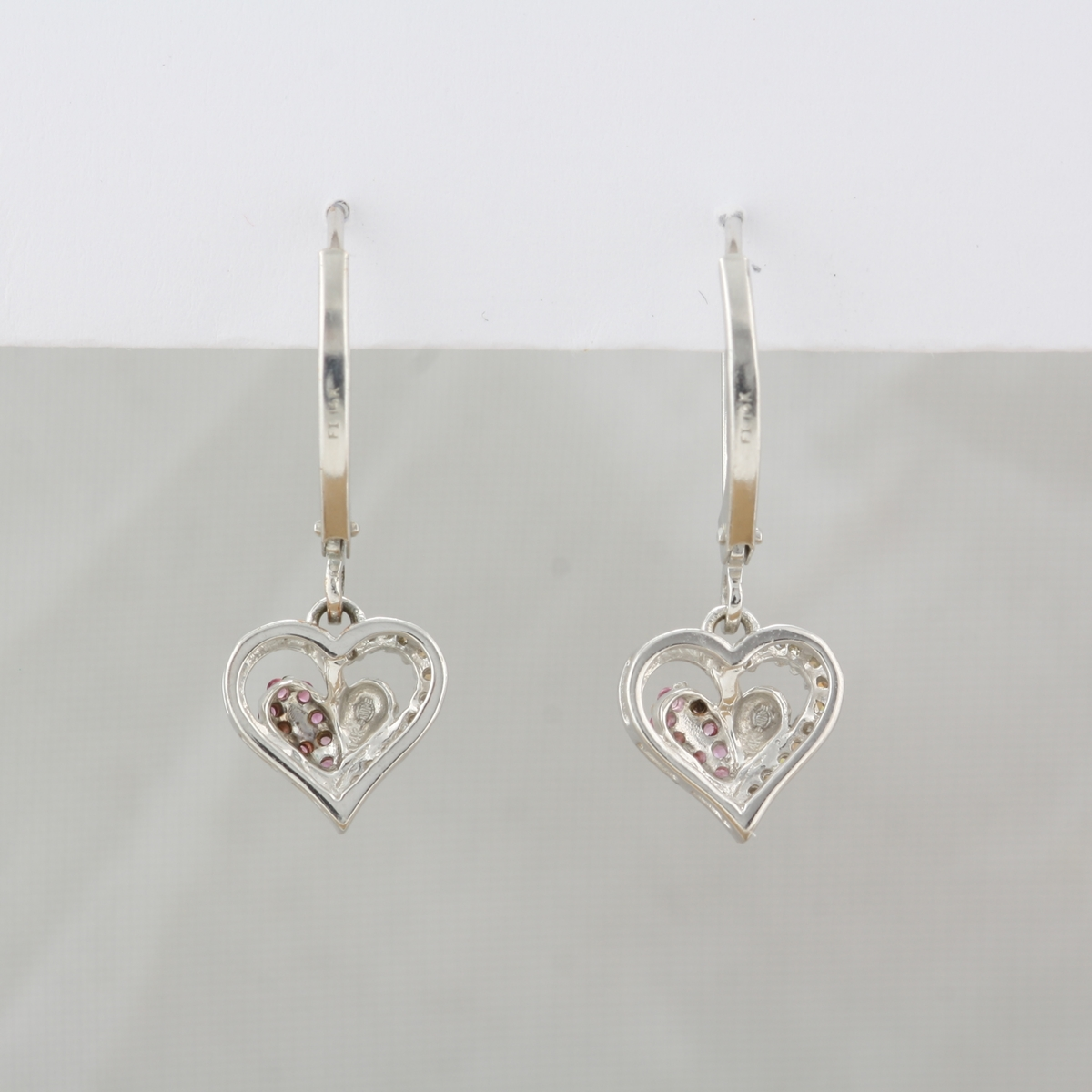 Preowned 10 Karat White Gold Dangle Pink Sapphire & Diamond Heart Earrings