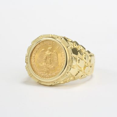 pre-owned-14-karat-yellow-gold-nugget-style-ring-set-with-a-mexican-2-peso-gold-coin-in-a-bezel