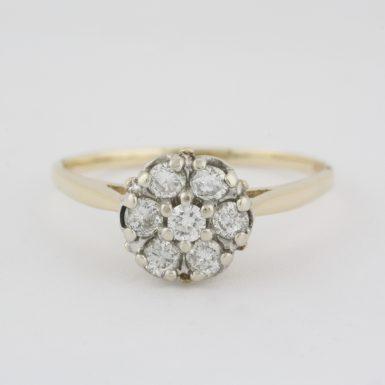 Pre-Owned 14 Karat Yellow Gold Diamond Flower Style Ring