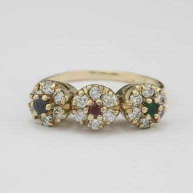 Pre-Owned Diamond Ruby Emerald Sapphire Ring