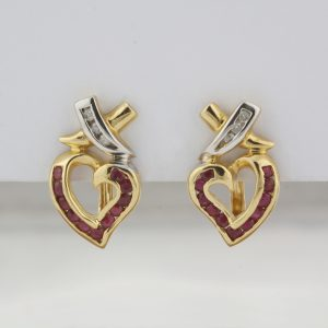 "Pre-Owned 14 Karat Yellow and White Gold ""X"" and Heart Earrings"