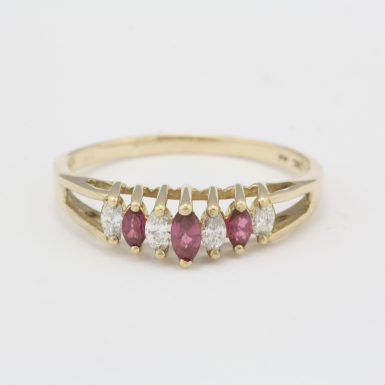Pre-Owned 14 Karat Yellow Gold Ruby and Diamond Ring