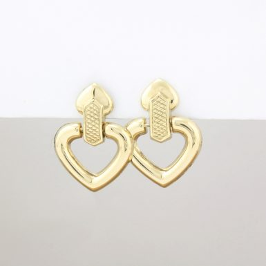 Pre-Owned 14 Karat Yellow Gold Heart Dangle Earrings