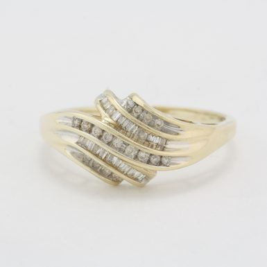 Pre-Owned 10 Karat Yellow Gold Diamond Waterfall Dinner Ring