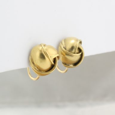 Pre-Owned 14 Karat Yellow Gold Free-Form Button Earrings