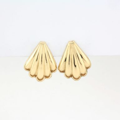 Pre-Owned 14 Karat Yellow Gold Fan Earrings