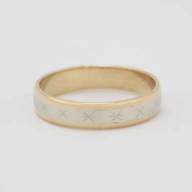 Pre-Owned 14 Karat White & Yellow Gold Lost Treasure Wedding Band