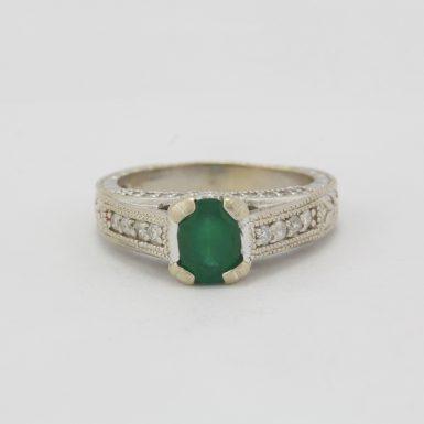 Pre-Owned 14 Karat White Gold Emerald & Diamond Ring
