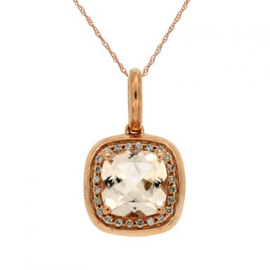 14 Karat Rose Gold Diamond & Morganite Pendant