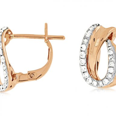 14 Karat Rose Gold Diamond Earrings