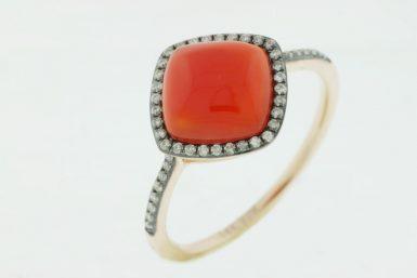14 Karat Rose Gold Red Agate & Diamond Ring