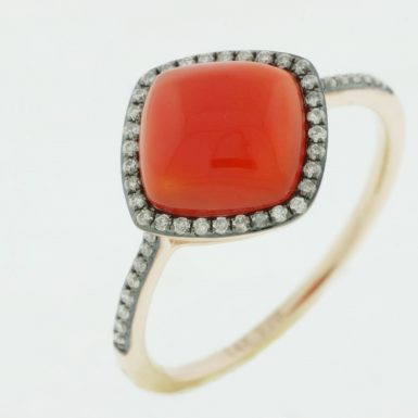 14 Karat Rose Gold Red Agate & Diamond Ring