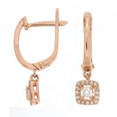 14 Karat Rose Gold Diamond Dangle Earrings