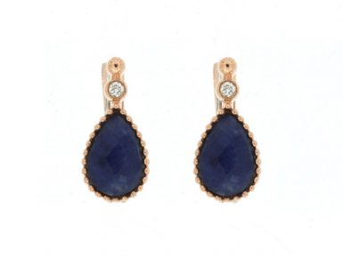 14 Karat Rose Gold Sodalite & Diamond Earrings