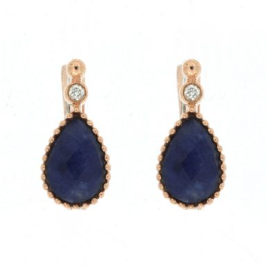 14 Karat Rose Gold Sodalite & Diamond Earrings