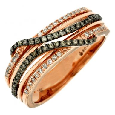 14 Karat Rose Gold Diamond & Mocha Diamond Ring