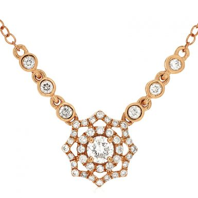 14 Karat Rose Gold Diamond Necklace
