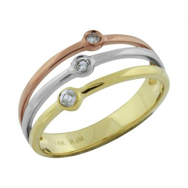 14 Karat Tri-Color Diamond Band