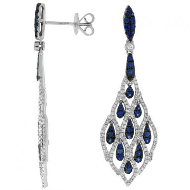 14 Karat White Gold Diamond & Sapphire Earrings