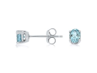 14 Karat White Gold Aquamarine Stud Earrings