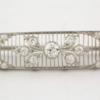 Pre-Owned Diamond and Platinum Lattice Filigree Bar Brooch