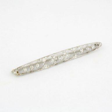 Pre-Owned Diamond and Platinum Lattice Filigree Bar Brooch