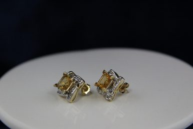 Pre-owned 14K Citrine and Diamond Earrings