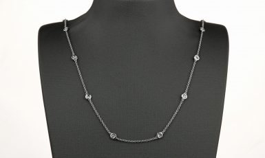 14k White Gold Pre-owned Diamond-by-the-inch Necklace