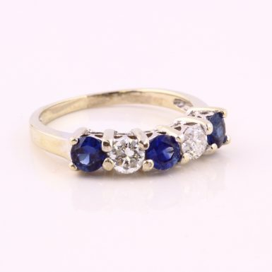 14K White Gold Pre-owned Sapphire and Diamond Wedding Band