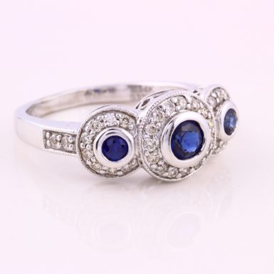 14k White Gold Pre-owned Sapphire and Diamond Ring