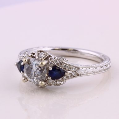 14k White Gold Pre-owned Diamond and Sapphire Ring