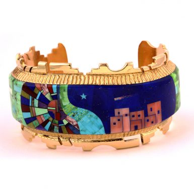 Pre-owned 14k Alvin Yellowhorse Stone Cuff