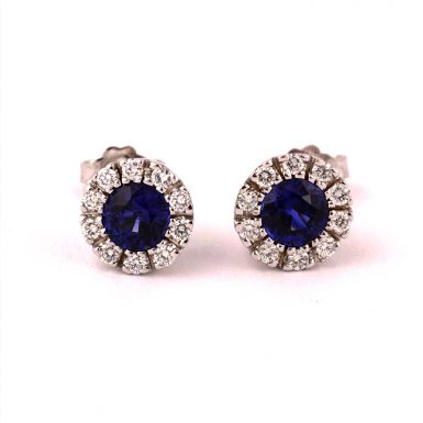Pre-Owned 18K White Gold Sapphire and Diamond Earrings