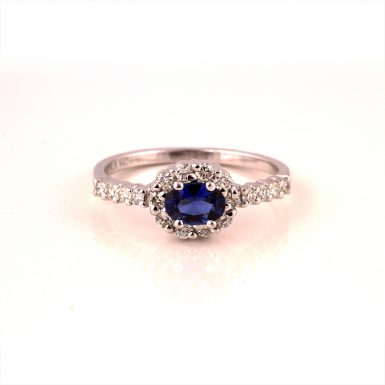 Pre-owned 14k Sapphire and Diamond Halo Ring