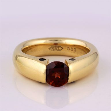 Pre-owned 14K Tension-set Garnet Ring