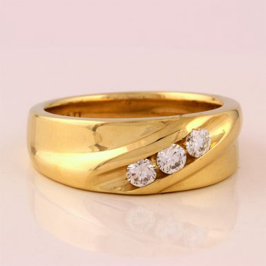 Pre-owned 14K Three-Diamond Men's Ring