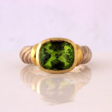 Pre-owned 14K/Sterling David Yurman Peridot Ring