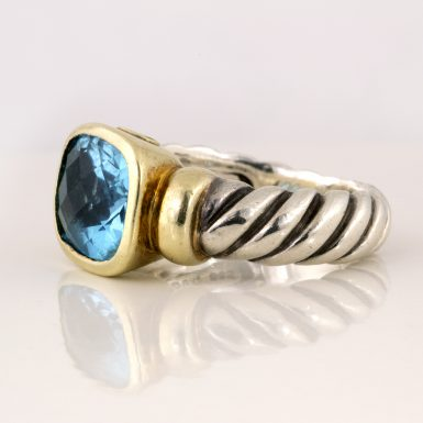 Pre-owned 18k/ss David Yurman Blue Topaz Ring