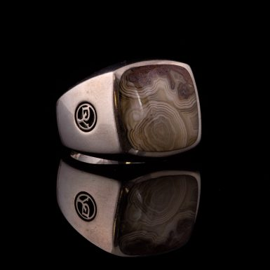 Pre-owned Sterling David Yurman Men's Agate Ring