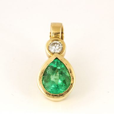 Pre-owned 14k Emerald and Diamond Slide Pendant