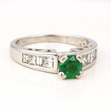 Pre-owned Platinum Emerald and Diamond Ring