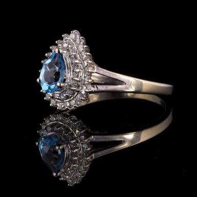Pre-owned 14k White Gold Blue Topaz and Diamond Ring