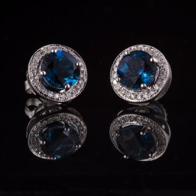 Pre-owned 14k White Gold Blue Topaz and Diamond Earrings