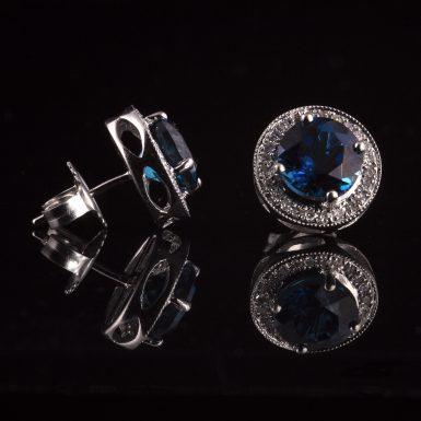 Pre-owned 14k White Gold Blue Topaz and Diamond Earrings