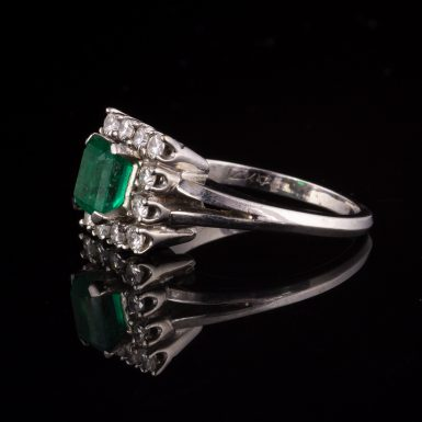 Pre-owned 14k White Gold Emerald and Diamond Ring