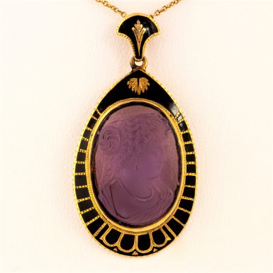 Pre-Owned 14K Amethyst Cameo Necklace