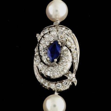 Pre-owned 18K Pearl, Synthetic Sapphire and Diamond Necklace