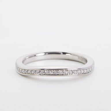 Pre-owned Platinum Diamond Contour Wedding Band