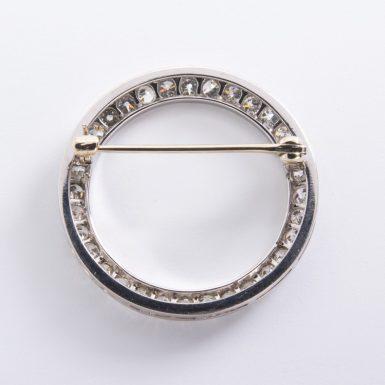 Pre-owned Platinum Diamond Circle Brooch